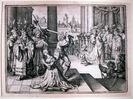 Anna Boleyn tekin af lífi. Mynd eftir De Bry J. T. frá 1630.
