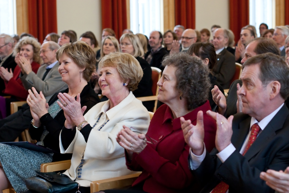 Kristín Ingólfsdóttir, rektor Háskóla Íslands, Vigdís Finnbogadóttir, Auður Hauksdóttir, forstöðumaður Stofnunar Vigdísar Finnbogadóttir og Páll Skúlason, fyrrverandi rektor.