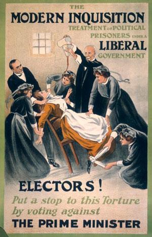 Áróðursplakat frá 1910 sýnir hvernig matur var þvingaður ofan í súffragettur í hungurverkfalli.