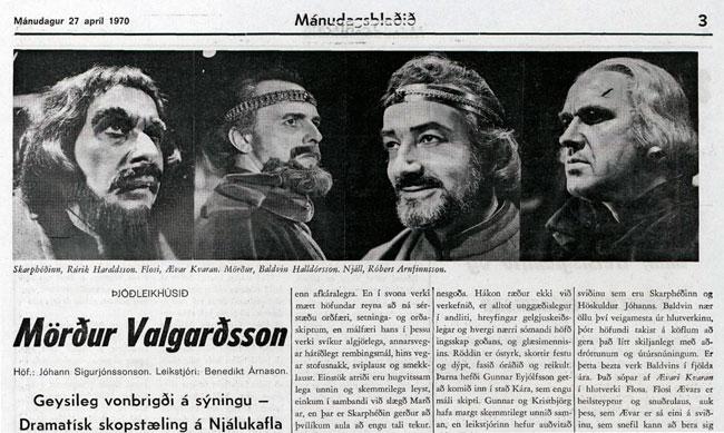 Skjáskot af umfjöllun Mánudagsblaðsins 27. apríl 1970, af timarit.is