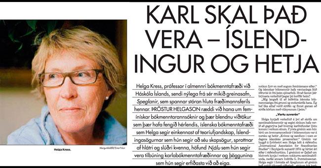 Skjáskot af viðtali við Helgu Kress og mynd af henni (ljósm. Einar Falur) í Morgunblaðinu 2001.