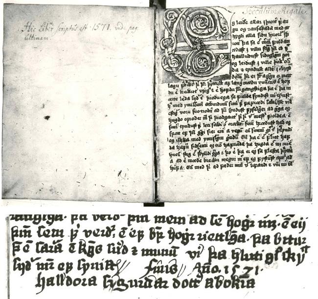 """GKS 1913 4to, handrit Halldóru Sigurðardóttur. Neðst til hægri á lokasíðu handritsins stendur: """"Finis Anno 1571. Halldóra Sigurðardóttir á bókina""""."""
