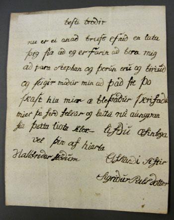 Bréf sem Sigríður skrifaði aftan á bréf ömmu sinnar Sigríðar Ørum, í janúar 1820.