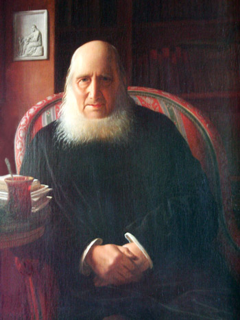 Nikolaj Frederik Severin Grundtvig eftir Constantin Hansen.