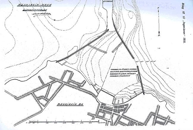 """Uppdráttur Monbergs af höfninni fullgerðri frá 1918. Birt í sérriti """"Ingeniøren"""" nr. 61, 1918."""