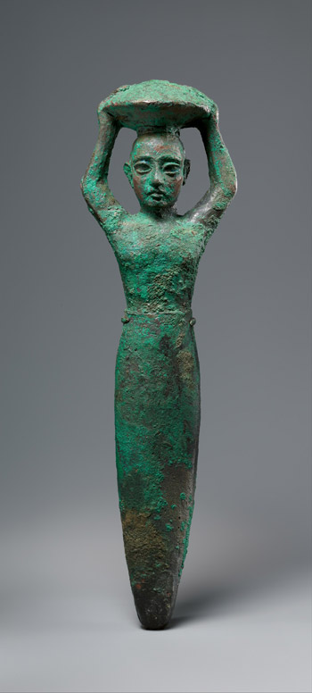 Foundation figure of king Shulgi of Ur, carrying a basket, ca. 2094–2047 B.C. Neo-Sumerian, Ur III Copper; 12 1/4 x 2 3/16 in. (31.1 x 5.6 cm) The Metropolitan Museum of Art, New York, Rogers Fund, 1959 (59.41.1) http://www.metmuseum.org/Collections/search-the-collections/324831