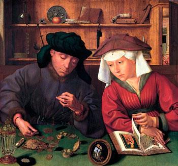 Kápumynd: Lánveitandinn og kona hans (Quentin Metsys 1514)