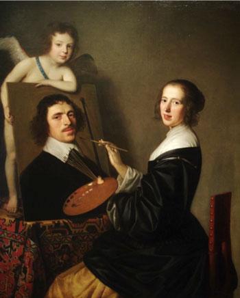 Gerard van Honthorst. 1648. Allegoría um Málverk. Olía á striga, 138 x 113 cm. Sacramento, California, USA: Crocker Art Museum.