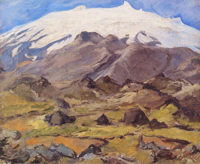 Guðmundur Thorsteinsson. 1922. Snæfellsjökull. Olía á striga, 42x50 cm. Í Björn Th. Björnsson. Guðmundur Thorsteinsson: Muggur: Ævi hans og list. Reykjavík: Helgafell, 122.