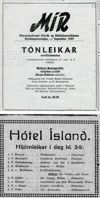 tónleika auglýsingar. Sú efri birtist í Þjóðviljanum 9. sept. 1954 sjá hér og á bls. 101 í bókinni og sú neðri í Morgunblaðinu 11. nóv. 1934 - sjá hérog á bls. 44 í bókinni.