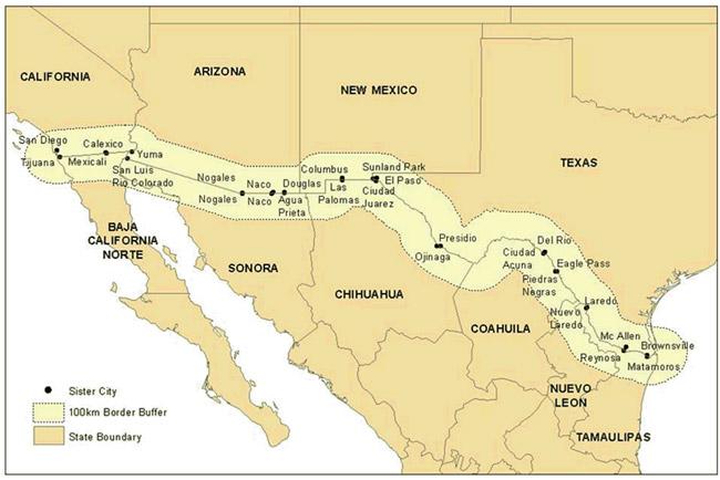 kort af landamærum Bandaríkjanna og Mexico.