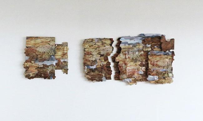 Pyllis Ewen, Reykjanes Gunnuhver´s Ghost, Collage, paint, 2016. Ljósm. Inga Þórey Jóhannsdóttir